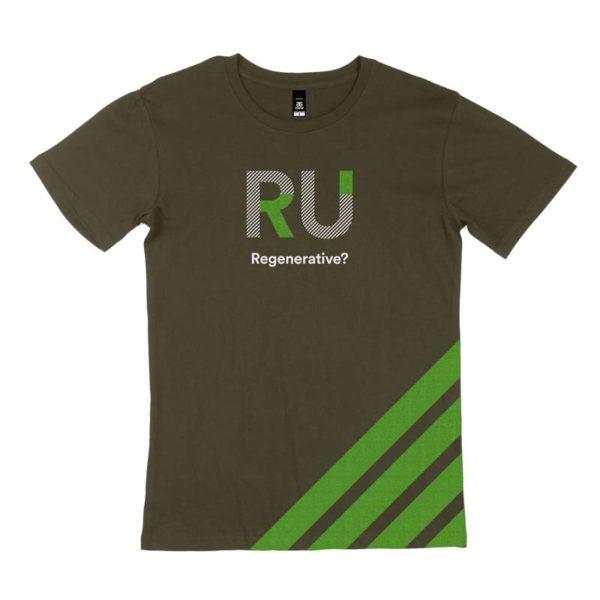Green Men's Tshirt - Front Design: RU Regenerative?